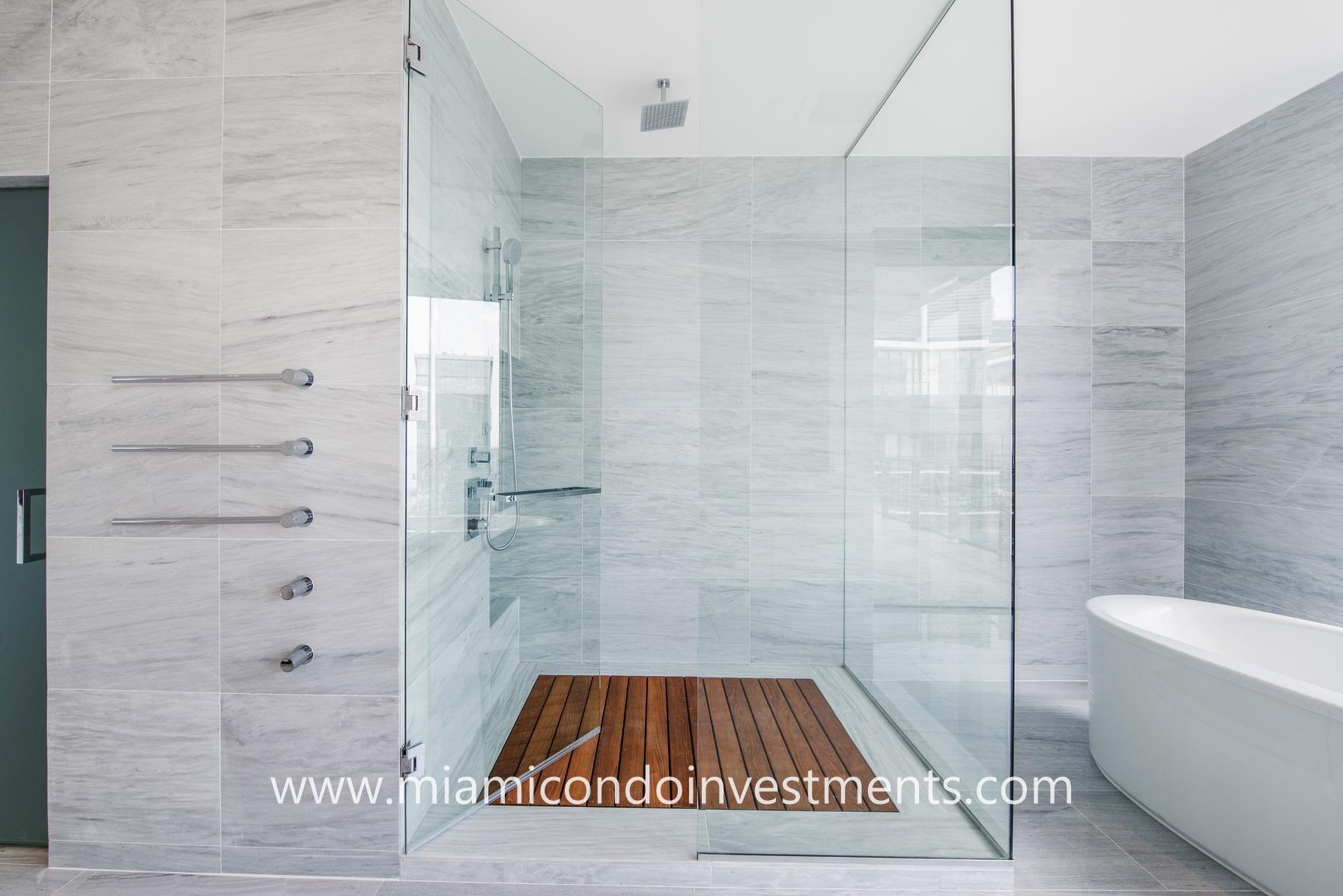 glass-enclosed rainfall shower