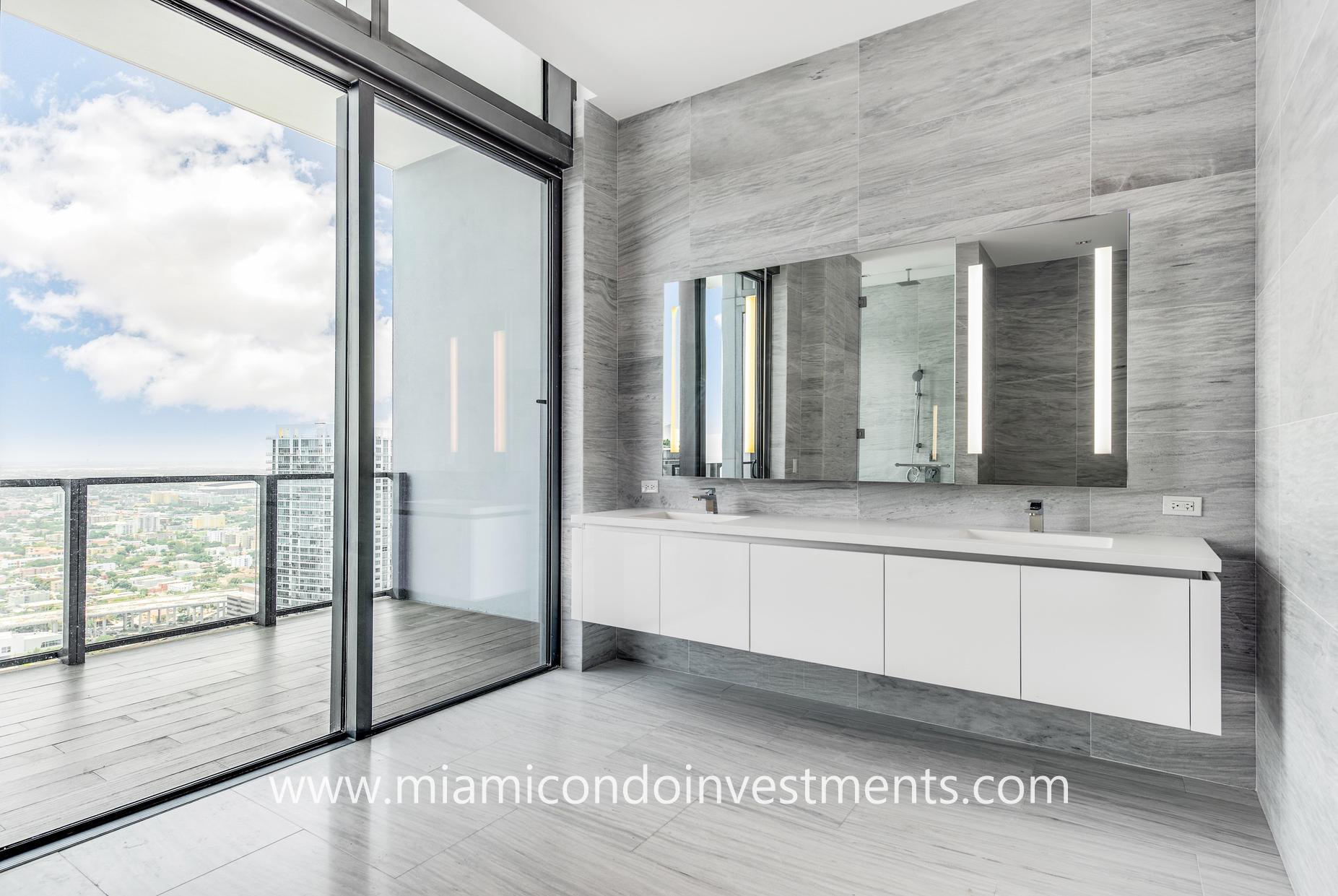 luxury bathroom with double vanity