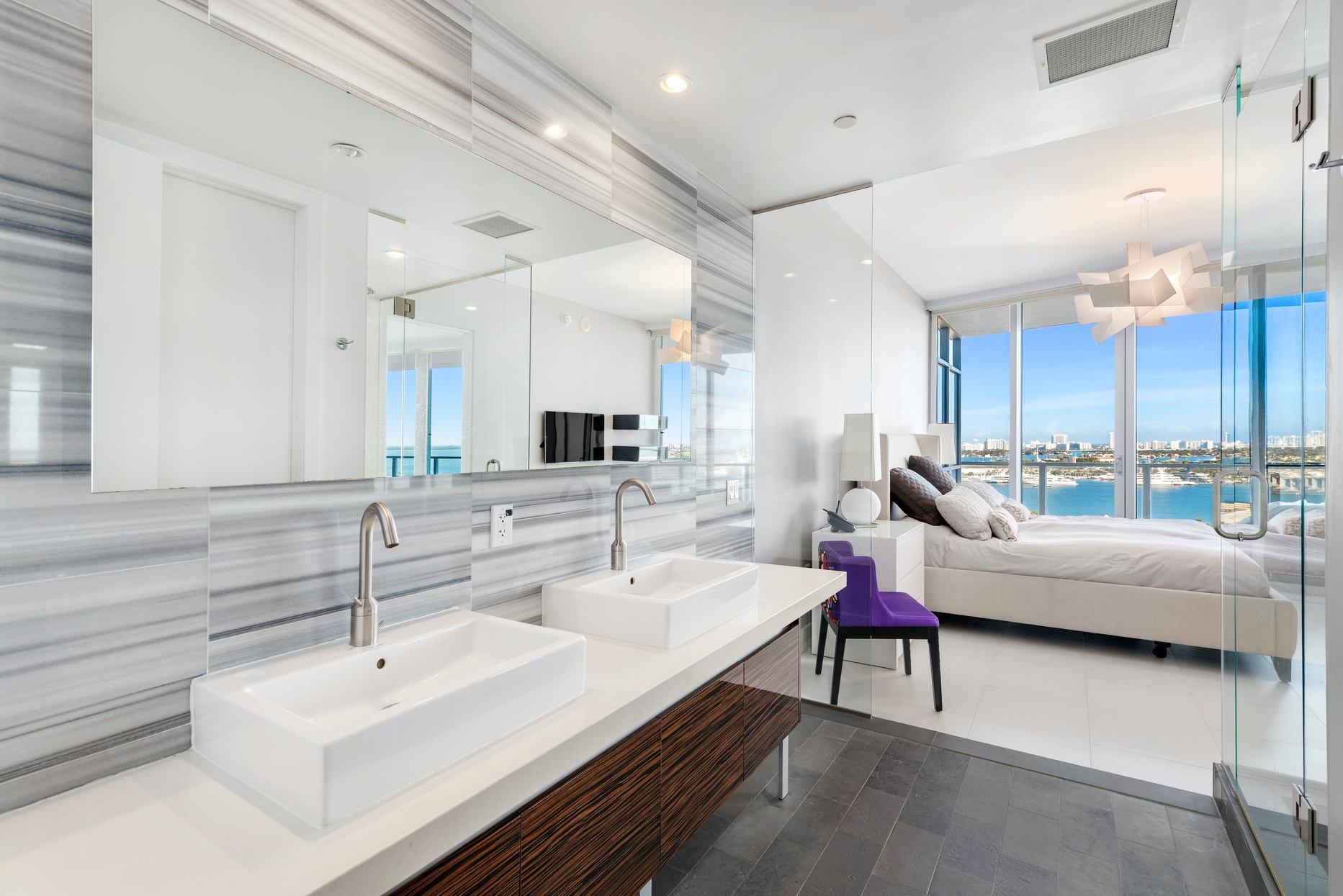 master bathroom with direct water view