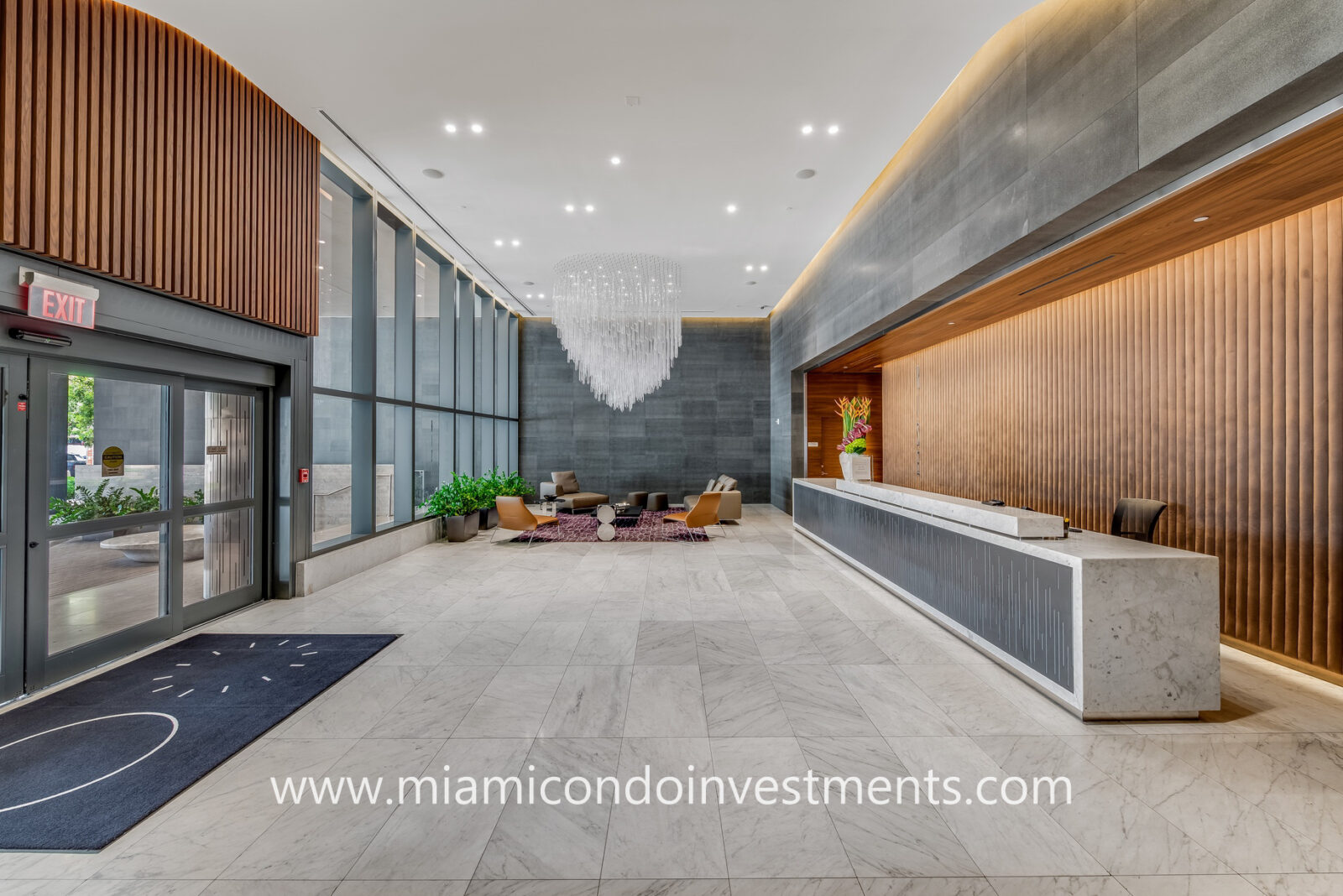 lower lobby at Rise Brickell City Centre