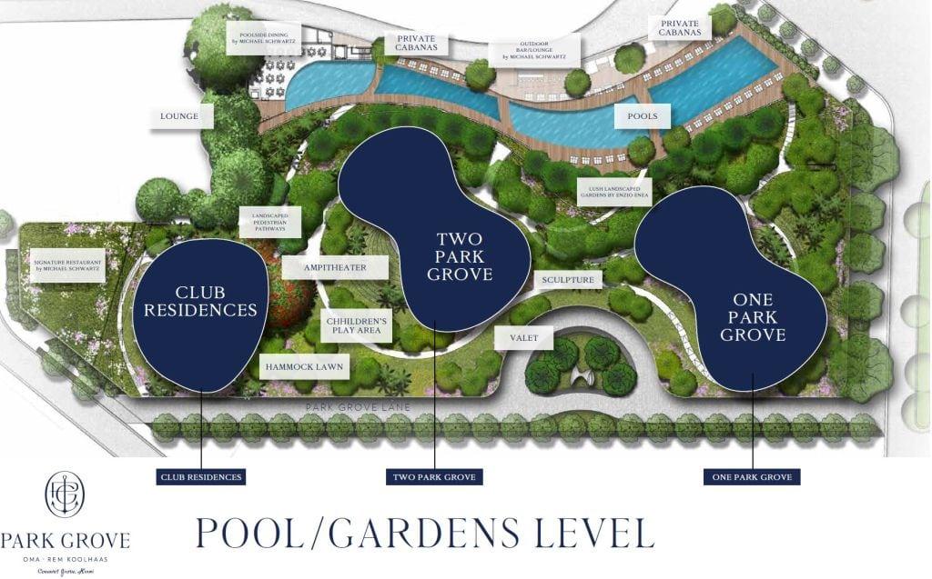 Park Grove site plan pool / garden level