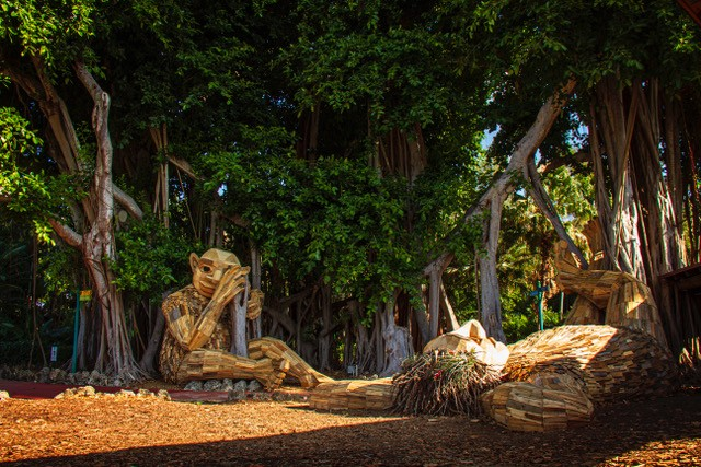 Thomas Dambo's trolls at Pinecrest Gardens.