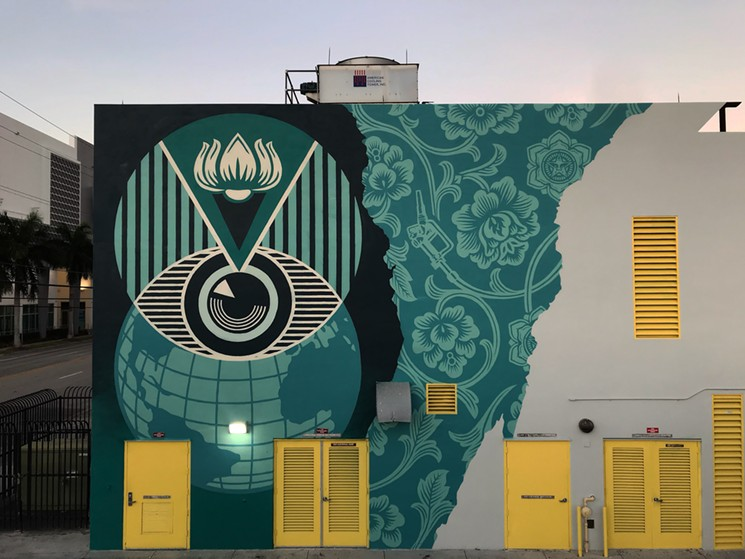 Shepard Fairey's completed mural at Eneida M. Hartner Elementary.