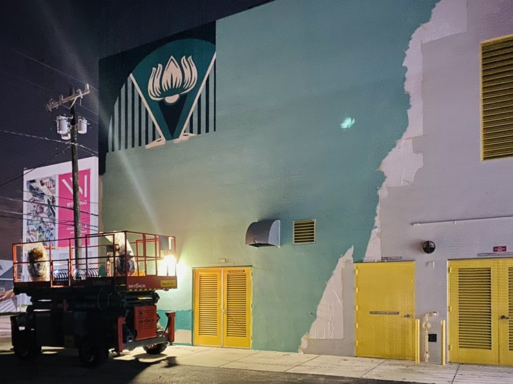 Shepard Fairey began working on his mural the Monday evening before Miami Art Week.