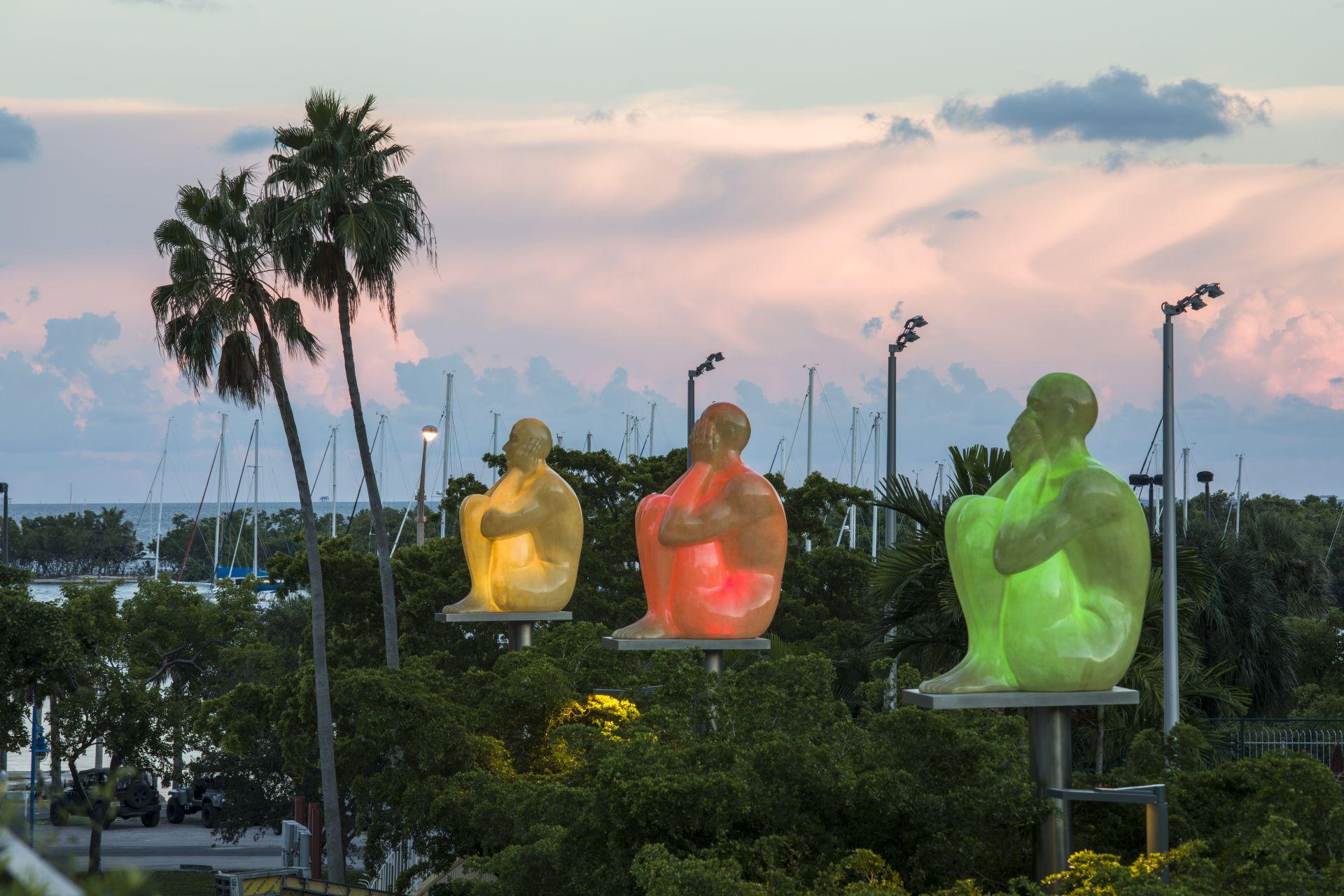outdoor art display at sunset