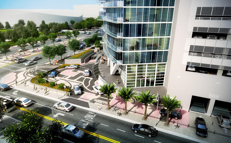 Marina Blue valet area renovation rendering