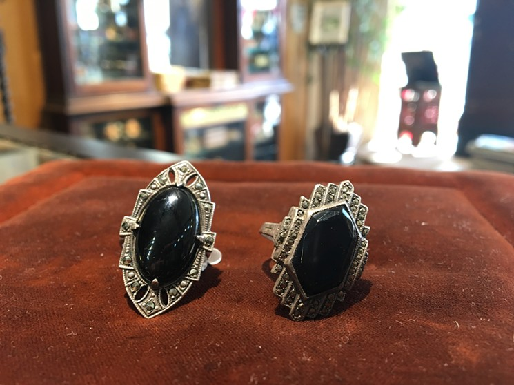 Antique art deco rings at Five Golden Rings in Sunset Place sell for between $85 to $100 and last forever.