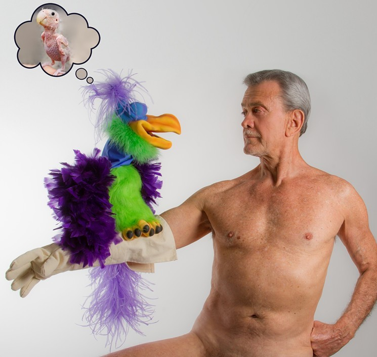 Bill Schwartz, the naked ventriloquist, and his puppet Kooky.