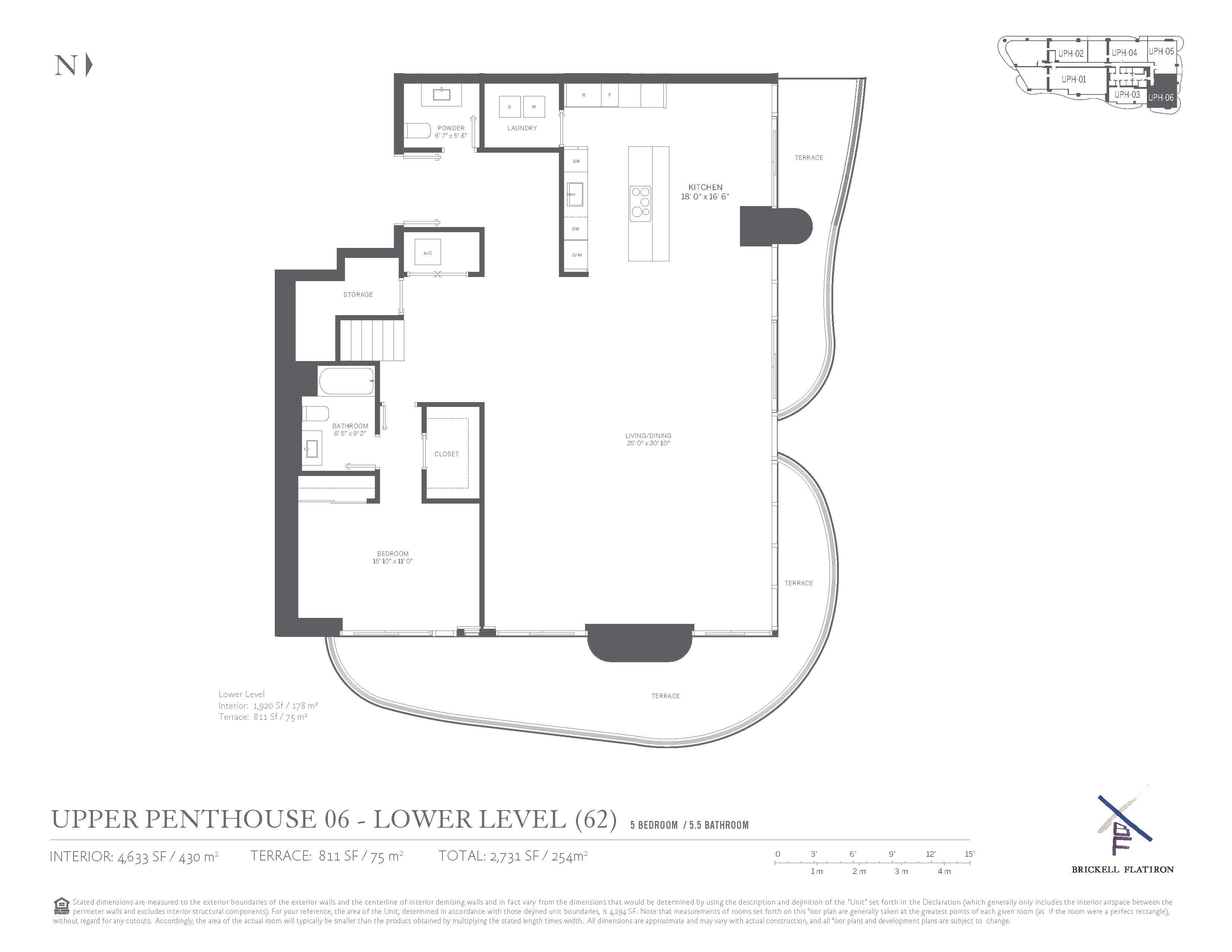 Brickell Flatiron UPH06 floor plan lower level