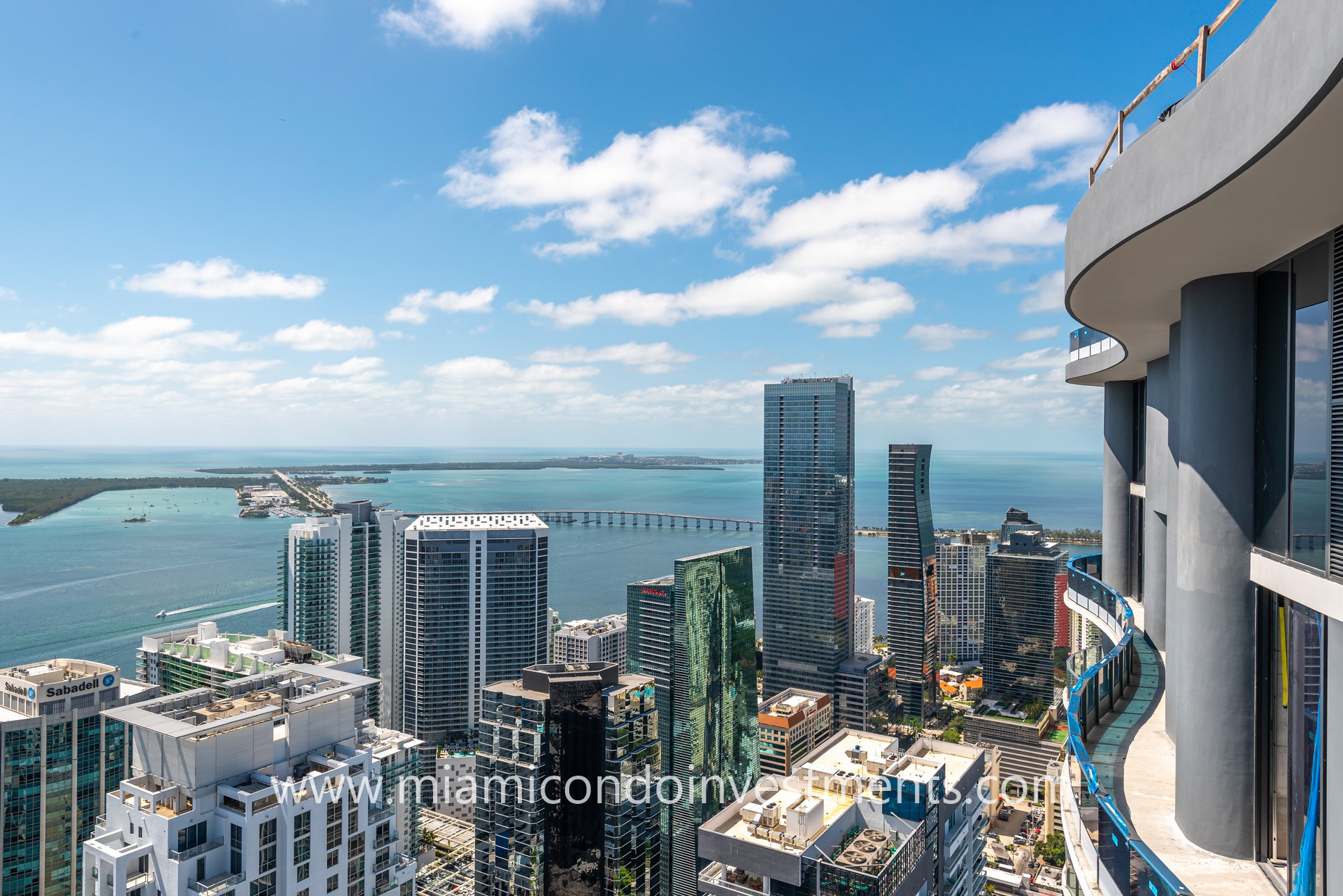 views southeast from upper penthouse at Brickell Flatiron